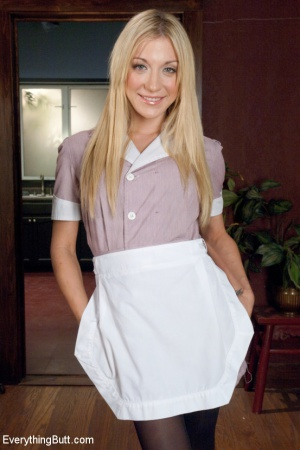 Amateur blonde wife in a maid uniform