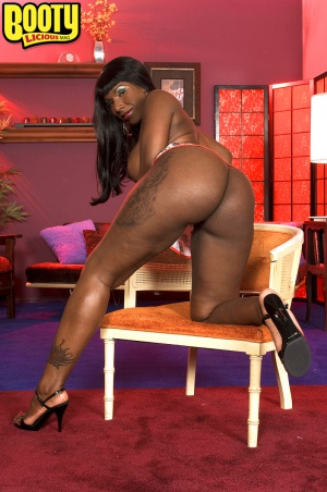 Big black booty spreading in high heels