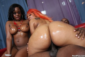 Big Oiled Ass Riding a Thick Cock