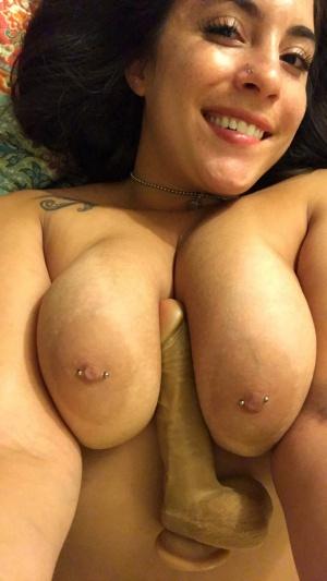 Pierced Latina Slut with a Huge Dildo