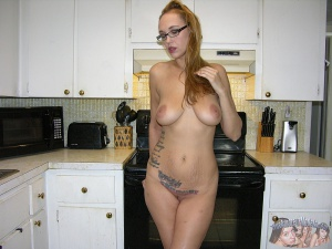 Tattooed Young MILF with Glasses and a Coke Bottle Figure